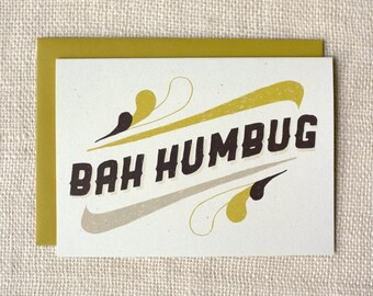 Sale 50% Off - Holiday Card - Bah Humbug