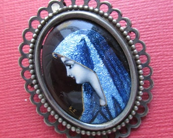 Virgin Mary Limoges Brooch Antique French Silver Enamel Pin Pendant