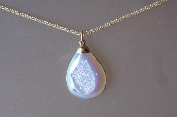 Opal Druzy Drop Necklace with Diamond Cut Chain
