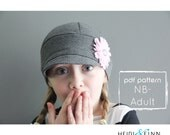 NEW Downtown Hat pattern and tutorial NB-adult easy sew PDF pattern unisex cap