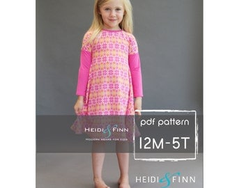 NEW Kopic tunic dress PDF sewing pattern and tutorial 12m-5t  tunic dress jumper  easy sew