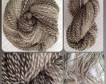 Hand Spun Yarn - Self-Striping- DK - Jacob Wool Hand Spun (Self Striping)- 2 Ply 3.9 oz 325 yds (HS0207)