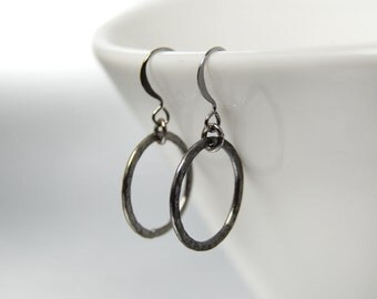 Simple Black Hoop Earrings Hammered Metal Black Hoops