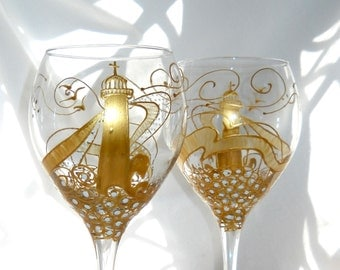Gold Lighthouse Wine Glass Hand Painted Glassware Nautical Goblets