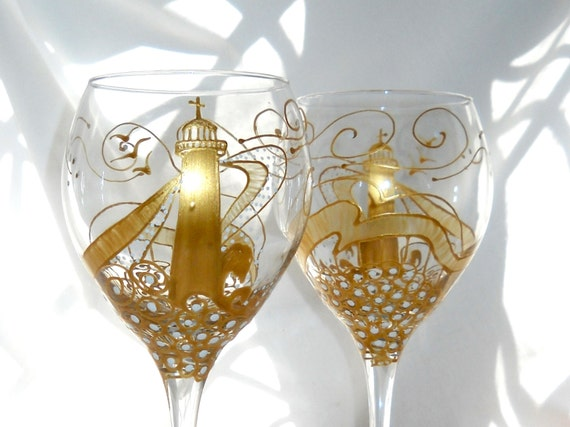Gold Lighthouse Wine Glass Hand Painted Nautical Glassware ~ 1