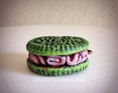 Zombie Cookie - polymer clay pendant, clay charm, necklace