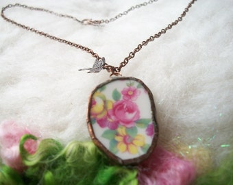 Broken China Necklace Recycled Jewelry Broken Plates and Cups Handmade Bezel and Copper Chain, Vintage Rose Bouquet