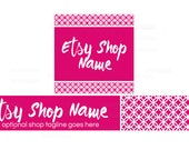 Etsy Shop Banners - Etsy Banners - Geometric Etsy Banners - Pink Etsy Shop Banners - Etsy Banner Sets - 2 Piece - 1-16