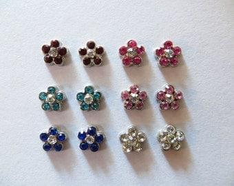 Magnetic Diamond Sparkle Flower Earrings Clip on non pierced ears