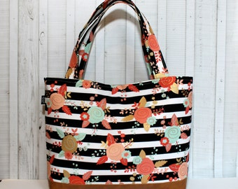 Floral Stripes with Vegan Leather - Tote Bag /  Diaper Bag /  Medium / Large Bag