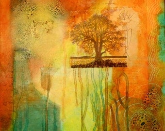 "Mixed Media Collage on Canvas 10"" x 10"" Orange Brown Green Yellow Tree"
