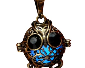 yOUR unIQue Baby Owl Blue glow in the dark necklace