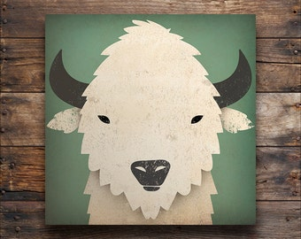 WHITE BUFFALO Bison Baby Powder Graphic Illustration Gallery Wrapped Canvas Wall Art signed