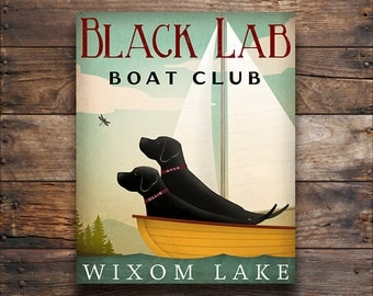 Black Dog CUSTOM PERSONALIZED Labrador Dog Boat Sailing Club Canoe Ride Ready-to-Hang Stretched Canvas Wall Art Signed