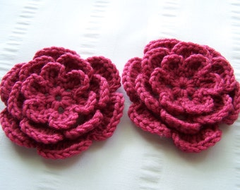 Crocheted flower 3 inch cotton set of 2 redcurrant colors