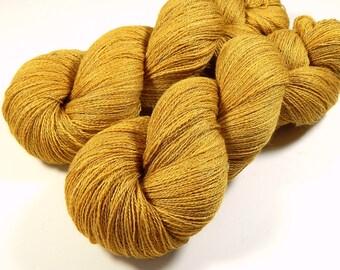 Hand Dyed Yarn - Lace Weight Silk Merino Wool Yarn - Honey Mustard - Knitting Yarn, Lace Yarn, Tonal Yarn, Wool Silk Yarn, Gold Yellow