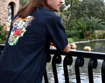 SALE Day of the Dead sugar skulls mens shirt sizeM  Dios de Muertos  tattoo rocker tequila rockabilly psychobilly gothic stage wear clubwear