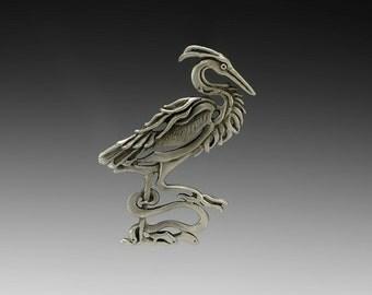 Heron Spirit Pewter Pin