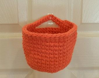 Crocheted Hanging Basket/ Small Crochet Basket/ Tangerine Crocheted Hanging Basket