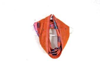 Sari Silk Infinity Scarf Womens Scarf Orange Scarf Summer Scarf Lightweight Scarf Silk Scarf Upcycled Scarf Eco Fashion Pink Gift for Her