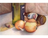 Chef's Essentials - original color pencil still life drawing by Jo Bradney onions, beer wine