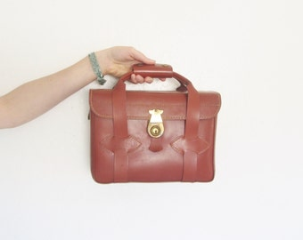 dark red chestnut leather box satchel . hard camera tote purse .sale