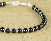Black Tourmaline and sterling silver  bracelet