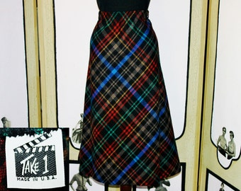 Vintage 80's Wool Blend Plaid Skirt by Take 1. XL XXL