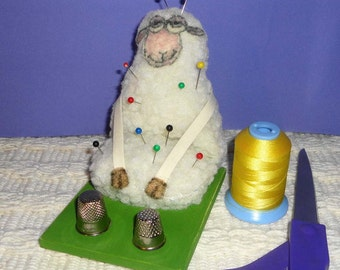 Novelty Pincushion Sheep On A Bed Of Grass / Holds Your Pins and Thimbles / Collectors / OOAK