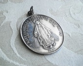 OLD Large Vintage STERLING Virgin Mary Miraculous Medal Pendant