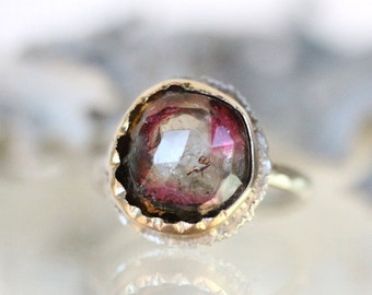 Watermelon Tourmaline 14K Yellow Gold and Sterling Silver Ring (B), Gemstone Ring, Cocktail Ring - Ship In The Next 9 Days