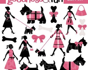 Buy 2, Get 1 FREE - Dressed in Pink Scottie Dog Clipart - Digital Scottish Terrier Clipart - Instant Download