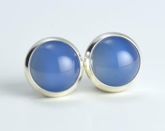 blue onyx 8mm sterling silver stud earrings pair