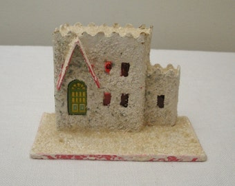 Vintage Putz House - Pink Red Trim Cardboard House