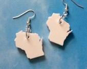 Acrylic State Jewelry, Wisconsin Earrings in White Lasercut Plastic