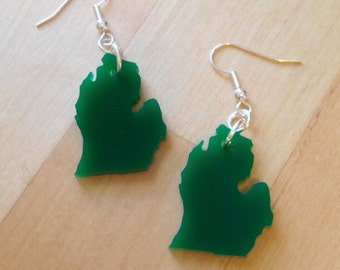 Green LP of Michigan Earrings - State Earrings - Michigan Jewelry