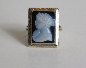 Antique Estate Onyx Victorian Edwardian VTG 14k White Gold Cameo Ring