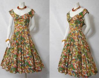 1950 Beautiful Mexican Off The Shoulder Print Dress Amazing