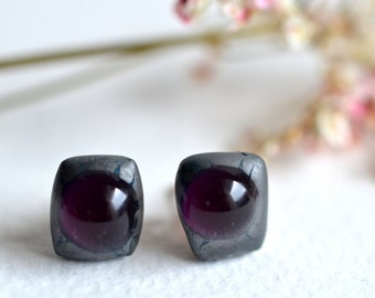 Free Shipping -Volcane - Purple and silver glass stud earrings - Rose gold plated 925 sterling silver