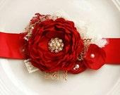 Christmas Red and Gold Sash