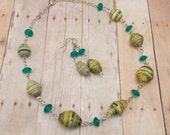 Paper Bead Necklace and Earring Set - Rwandan Paper Beads - Teal, Green, Yellow, Black and Cream Stripes