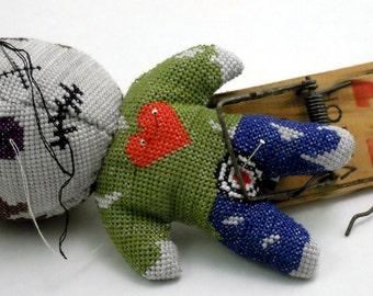 Voodoo Doll Pin Cushion 3D Cross Stitch Sewing Pattern PDF