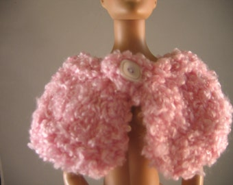 """Hand Knit Pink Cape Doll Clothes fits 16"""" doll such as Tonner Tyler"""