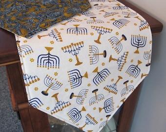 "Hanukkah Table Runner 54"" Reversible Blue and Gold Paisley Table Runner Menorah Table Runner Jewish Holiday Table Runner Hanukkah Decor"
