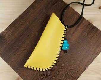 Yellow leather pouch - upcycled   amulet bag - inspired by the Native American medicine bag - leather accessories - unique leather necklace