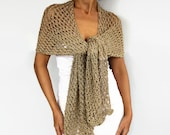 Beige Evening Stole Shawl, Metallic Gold Long Scarf Shimmering Shiny Crochet Bridesmaids Dress Coverup Mother of Bride, Bridal Shoulder Wrap