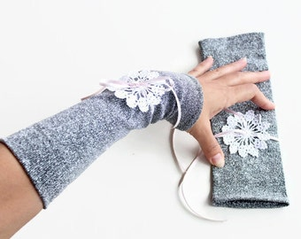 Evening Arm Warmers, Retro Silver Bridal Fingerless Gloves, Formal Elastic Fabric  Hand Crocheted Lace, deco Glam Wedding, Unique Design