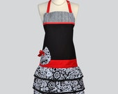 Chef Apron / Black and White Parisian Paisley with Stripes and Red Trims Womens Kitchen Apron