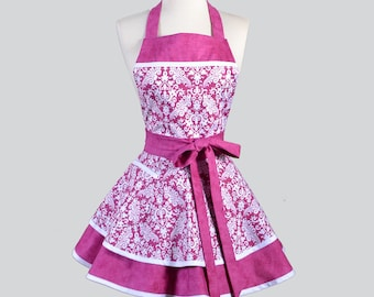 Ruffled Retro Apron . Pink Fucshia and White Damask Kitchen or Wedding Apron Ideal to Personalize or Monogram as Gifts for Her