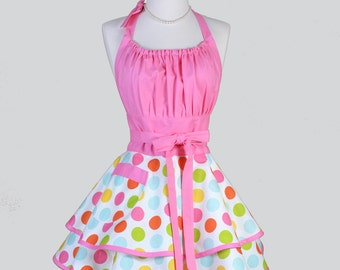 Flirty Chic Apron - Hot Pink and Confetti Colored Jumbo Polka Dots Sexy Rockabilly Retro Womens Apron Cute Flirty Chic Apron